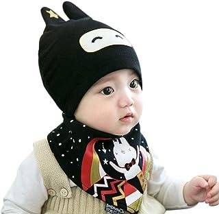 DORRISO Czapka z dzianiny dla noworodka, ze śliniakiem, zestaw dla niemowląt, zima, jesień, wiosna, czapka z dzianiny, śli...