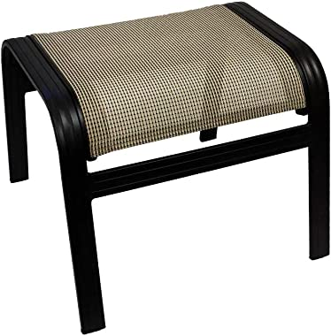 """J&M Patio Outdoor Ottoman 17"""" H Aluminum Relaxing Footstool in Black & Tan Finish"""