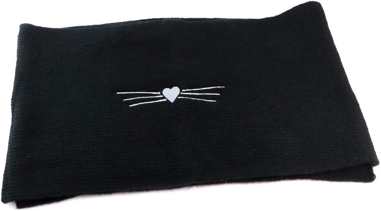 Lollipops [P6134]  Designer scarf 'Lollipops' black (cat heart) 168x30.5 cm (66.14''x12.01'').