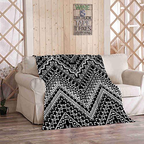 Kuidf - Manta de franela estilo bohemio estilo Chevron azteca étnico bohemio de lujo para sofá cama o sofá de 60 x 80 pulgadas