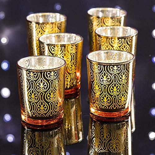 Fantado Spade Votive Tea Light Glass Candle Holder - Gold (2.5 Inches) (6 Pack) by PaperLanternStore