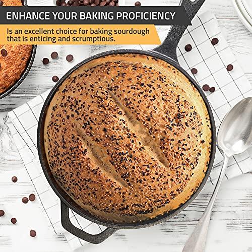 Sartén de hierro fundido pre-temporizada Kichly - Sartén - Utensilios de cocina seguros para uso en interiores y exteriores - Sartén de hierro fundido de 10,25 pulgadas (26 cm)