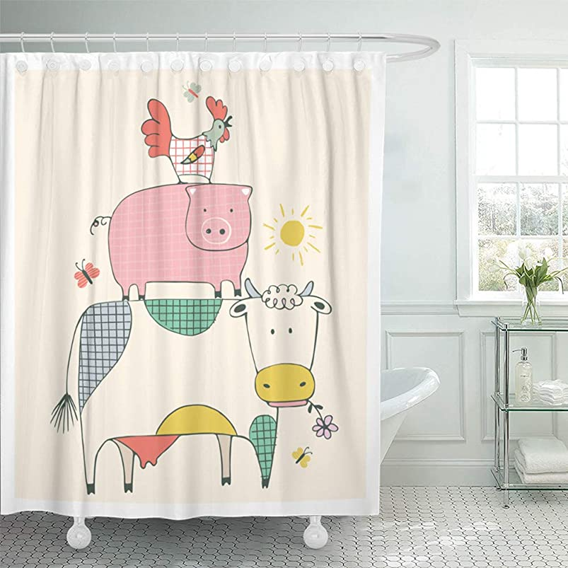 Emvency Shower Curtain Set Waterproof Adjustable Polyester Fabric Colorful Child Farm Animals Cow Pig and Cock Rooster Cute 66 x 72 Inches Set with Hooks for Bathroom qoyqbacs577501