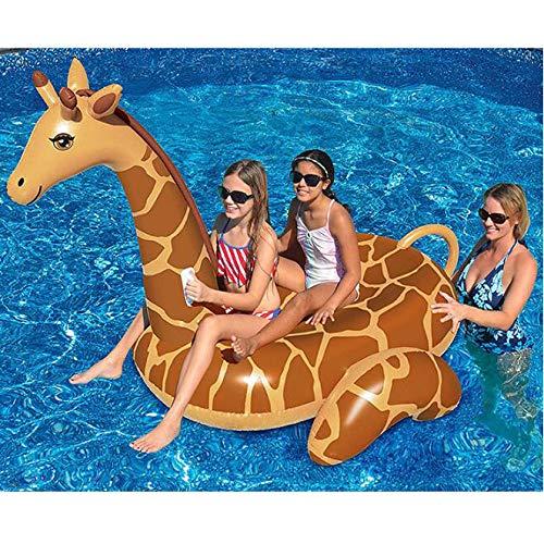 MISS&YG Giraffe Pool Float, Poolliegen und Schwimmer für Erwachsene & Kinder, PVC, leicht zu verstauen, aufblasbar zu tragen, bequem, hohe Auftrieb 192 * 150 * 160cm