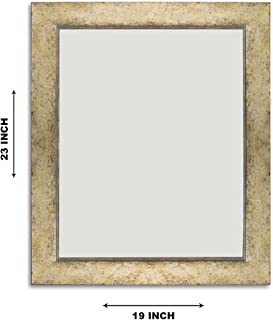 Art Street White Gold Flat Decorative Wall Mirror/Looking Glass Inner Size 16 x 20 inch, Outer Size 19 x 23 inch