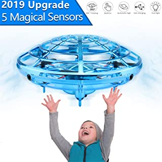Drones for Kids,UFO Flying Toys for Boys Gifts,Hand Operated Self Flying Drone for Beginner with Obstacle Avoidance,2 Auto Hover Speed Flying Ball,Boys Toys - Blue