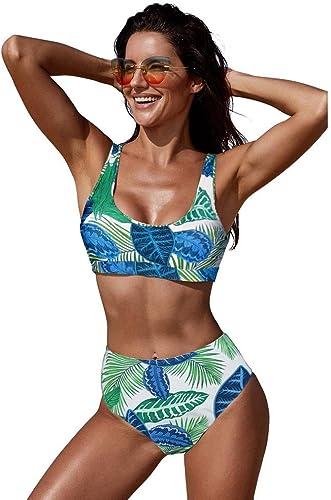 QIAO Bikini d'été pour Femme, imprimé Taille Haute Grande Taille Dos Ouvert Maillot de Bain à séchage Rapide (S - 2XL),E,XL