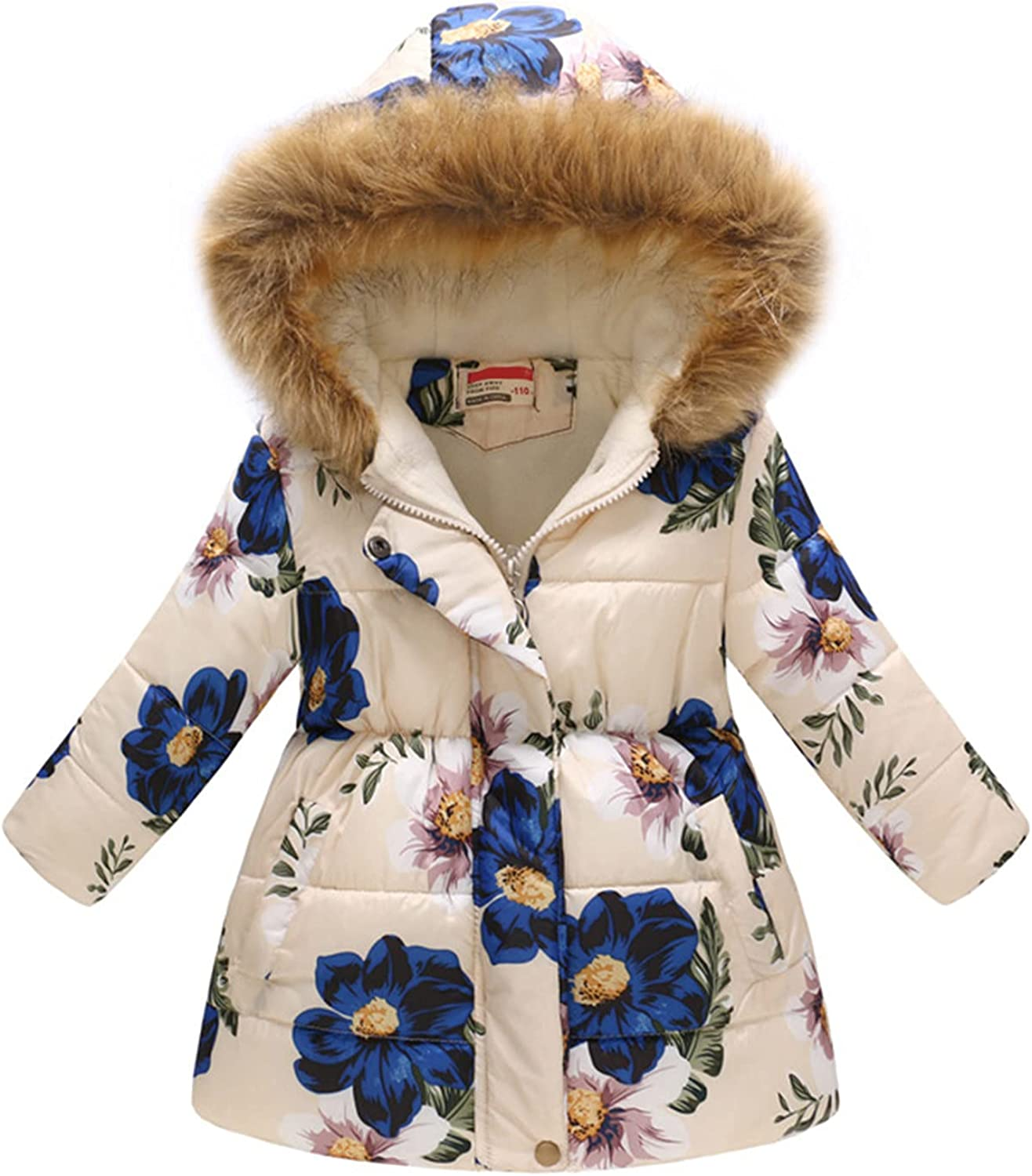 Kids Child Girls Winter Thick Warm Parkas Hooded Floral Print Fur Mid-long Coat 2-11 Years