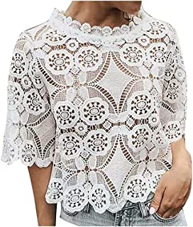 Fyuanmeiinsdxnv Womens tops summer O-Neck White Womens Blouse Vintage Hollow Out Flower Female Ladies Tops Casual Lace Sho...