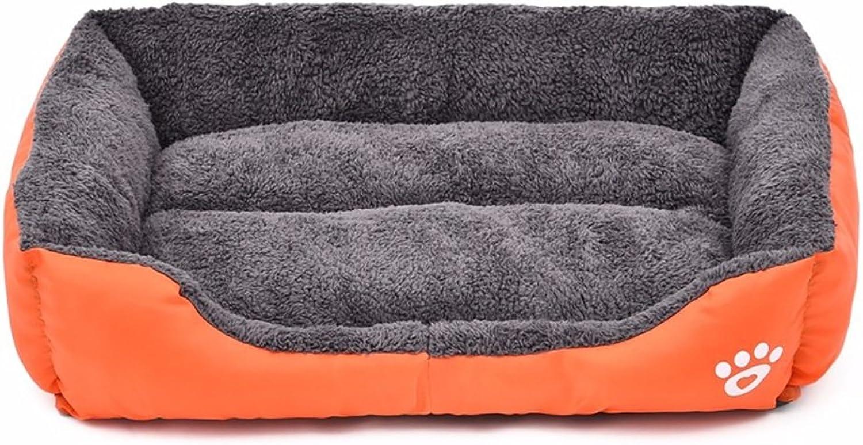 Pet Nest,Thick Soft Cotton Footprints Design Style Pet Nest Autumn Winter Warm Square Waterloo Dog Bed Cat Bed Mat 4 color & 6 Size (color   orange, Size   XL)