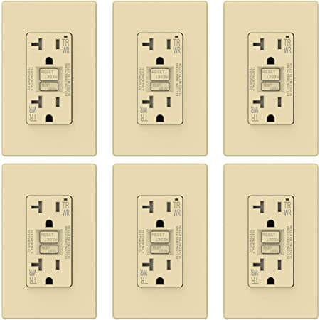 TR Tamper Resistant and WR Weather Resistant 2 Pack 5-20R GFI Dual Receptacle UL Listed Self-Test Ground Fault Circuit Interrupters Matte Light Almond ELEGRP 20 Amp GFCI Outlet w//Wall Plate