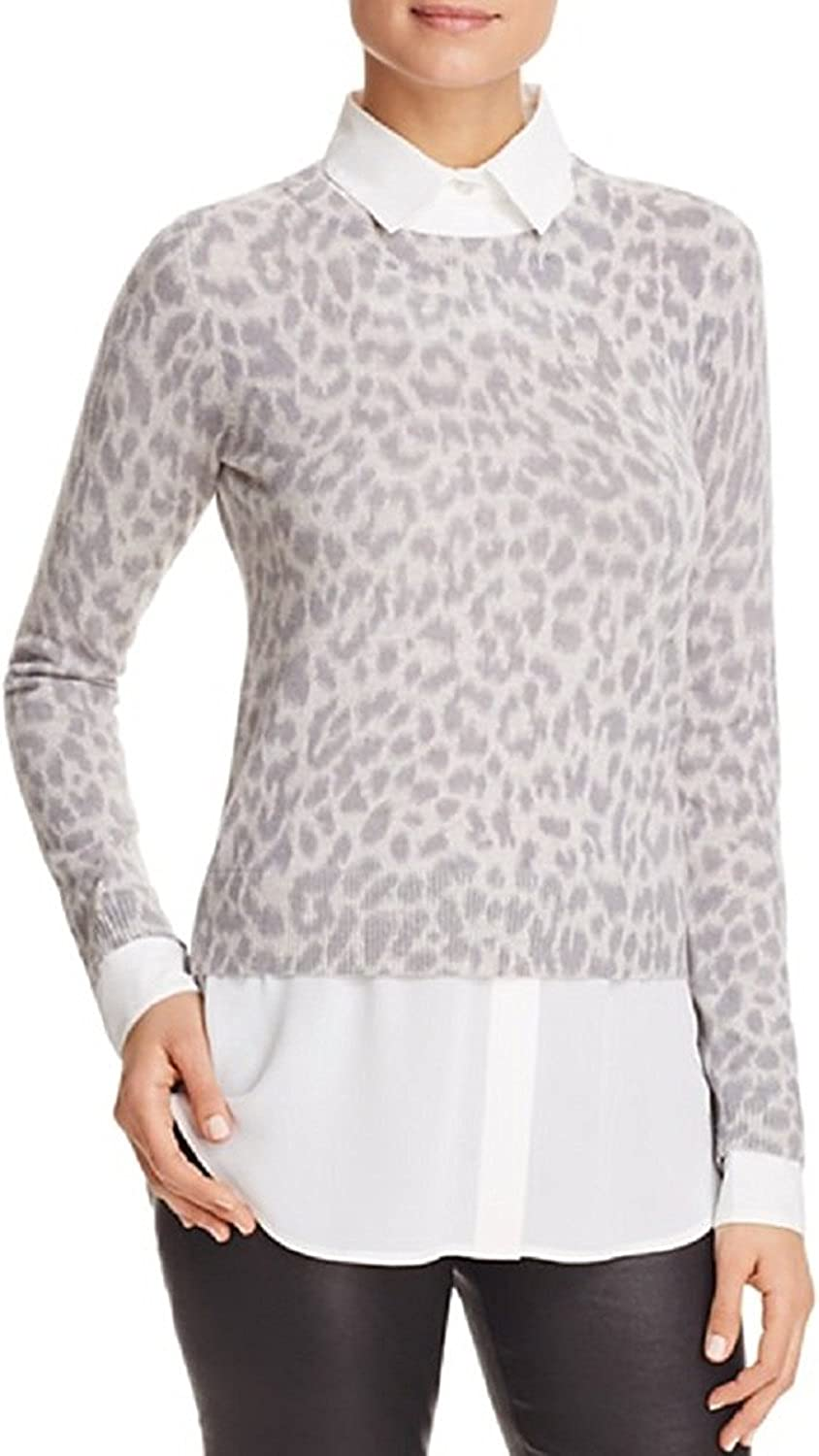 C by Bloomingdale's Leopard LayeredLook Cashmere Sweater