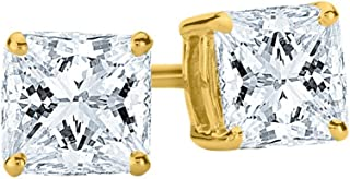 1/4-2 Carat Total Weight Princess Diamond Stud Earrings 4 Prong Screw Back (I-J Color SI1-SI2 Clarity)