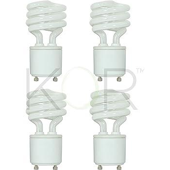 (4 Pack) 13 Watt Mini Spiral - GU24 Base - (60W Equivalent) - T2 Mini-Twist - CFL Light Bulb (Warm White (2700K), CFL)