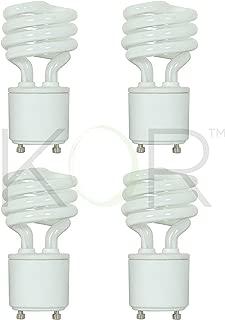 (4 Pack) 13 Watt Mini Spiral - GU24 Base - (60W Equivalent) - T2 Mini-Twist - CFL Light Bulb (Neutral White (3500K), CFL)