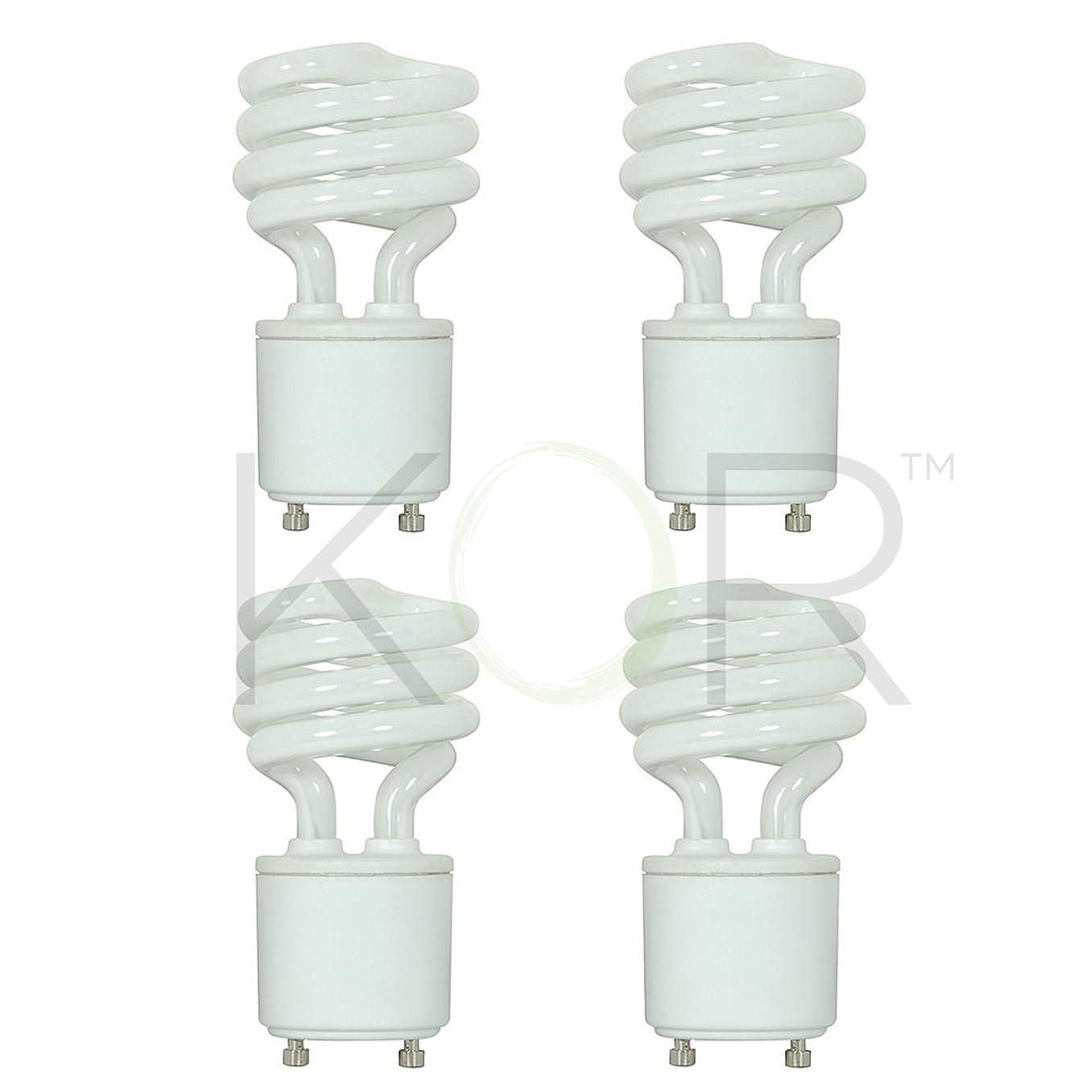 (Pack of 4) 13 Watt Mini Spiral - GU24 Base - (60W Equivalent) - T2 Mini-Twist - CFL Light Bulb - 5000K Bright White