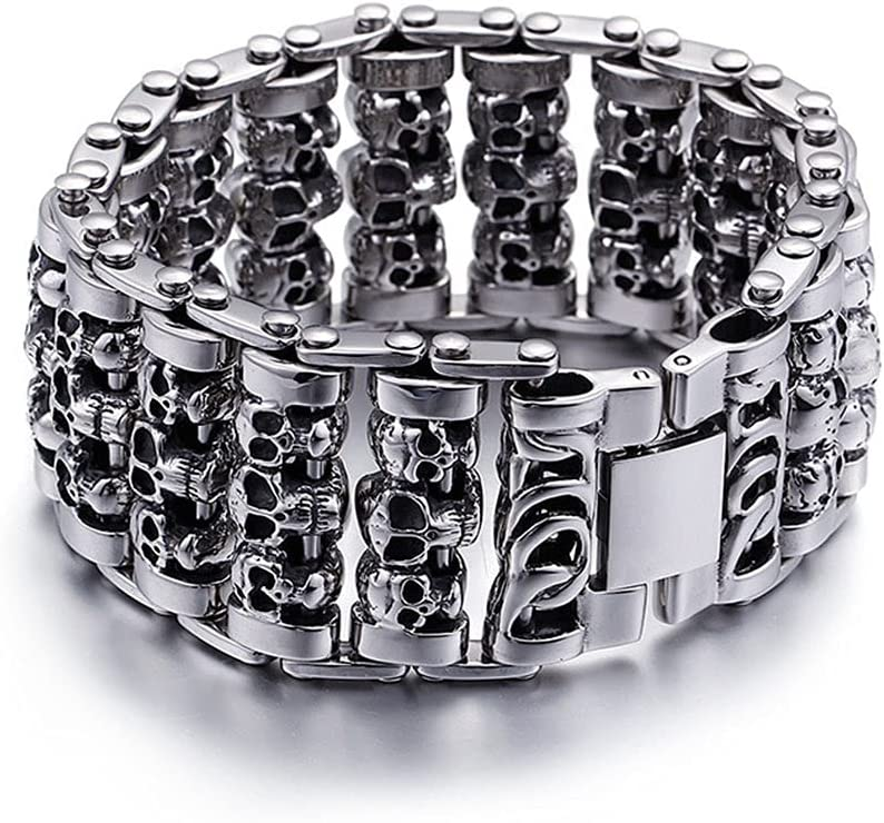 unisex NDYD Men's Punk Hip Hop Skull Clasp At the price Magnetic Bracelet Cuffs and