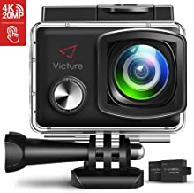 Victure AC900 4K Action Camera 20MP WiFi Touch Screen Camcorder EIS Waterproof Underwater Sports Cam with 2X1350mAh Rechargeable Battery