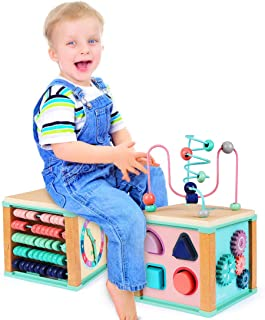 Ulmisfee Activity Cube Toys Baby Educational Wooden Bead Maze Shape Sorter for 3+ Year Old Boy and Girl Toddlers Gift