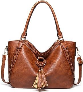 Handtasche Damen Shopper Groß Schultertasche Umhängetasche Lederhandtasche Beiläufig Damen Geldbörse Tragetasche Quaste Ho...