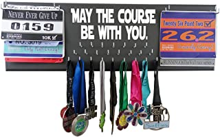 RunningontheWall Medal Hanger Medal Display Rack and Race Bibs May The Course BE with You Double Running Bib Design