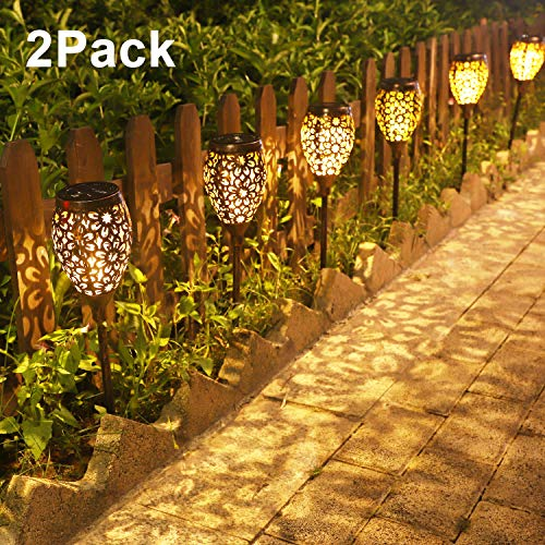 Solar Gartenleuchte IP44 Wasserdicht Wegeleuchten für Garten Außen Dekoration Solarlampen Energiesparende Aussenleuchten Ideal für Terrasse, Rasen, Hinterhöfe (2 Stück)