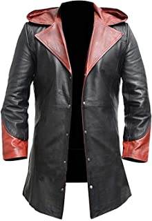 Mens DMC Dant-e Cosplay Costume Maroon Leather Coat Jacket
