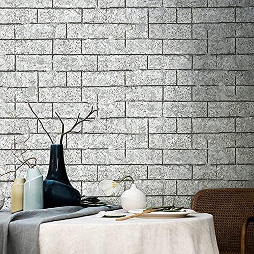 TFJJSQA Sonder/Schlicht Retro 3D Stereo Zement Grau Antike Ziegelstein Muster Tapete Esszimmer Wohnzimmer Sofa Tapete Blei Farbe (Color : Light Grey, Size : 0.53 * 10m)