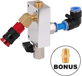 Hromee Compressed Air Outlet Kit with 1/2-Inch Tubing System and 1/4-Inch NPT Outlet Port Pack of 8 Air Push To Connect Outlet Block Set with Elbow NPT Straight and Universal Coupler