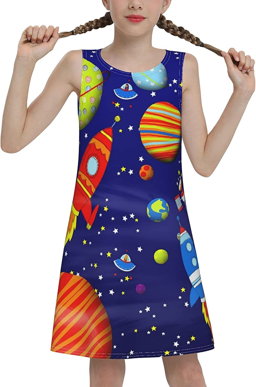 YhrYUGFgf Rockets and Universe Sleeveless Dress for Girls Casual Printed Vest Skirt