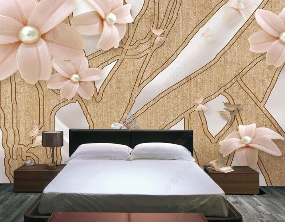 Wallpaper 3D Effect Floral Jewelry Butterfly Some reservation Custom Special sale item Wood W Grain