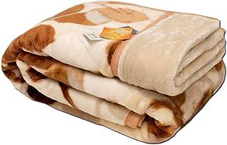 【1億円売れた毛布】東京西川 毛布 シングル 2枚合わせ 洗える リーフ柄 ブラウン マイヤー毛布 衿付き 冬 春 あったか 約1.8kg かわいい おしゃれ ブランケット 140×200cm