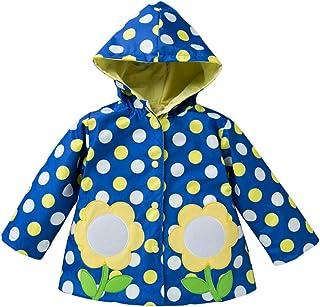 LvRao Kids Girls' Hooded Raincoats Polka Dot Windproof Waterproof Coat Outdoor Jacket
