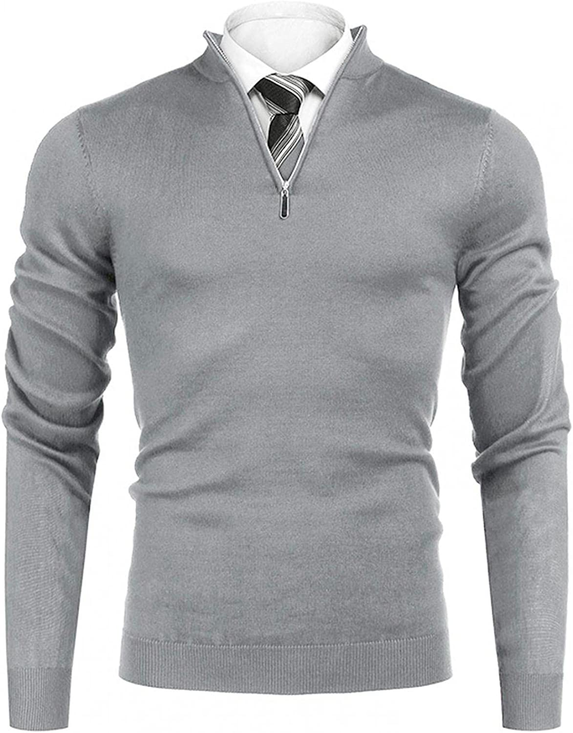 WoCoo Men's Knitted Sweaters Long Sleeve Turtleneck Quarter Zip Sweatshirts Pullover Lightweight Casual Slim Fit Polo Shirts