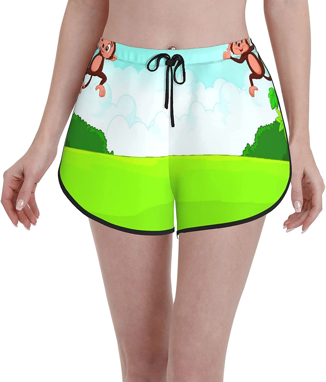 Minalo Women's Girl's Swim Trunks,Cartoon Cute Monkey,Beachwear Swimsuits Board Shorts Bathing Suits,M