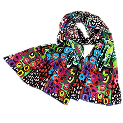 prettystern Damen Seiden-schal bunt Modern Kunst-Drucke Grafik Art Schal mit Kunstdrucke - Grün P285