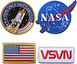 Classic Tactical NASA Patches Lot with American Flag Iron On Patches for Team Morale (4 Pcs)