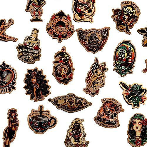 BLOUR 50 Uds Retro Vieja Escuela Tatuaje Estilo Pegatina refrigerador monopatínEstuche calcomanías Mochila mesas Impermeable PVC Pegatina