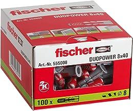 fischer 555008 universele pluggen DuoPower 8 x 40, voor bevestigingen in beton, metselwerk en plaatmateriaal, 100 stuks