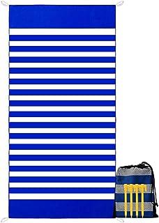 YZCX Toalla de Playa de Microfibra Secado Rápido Absorbente Manta de Playa Extra Grande 180x90cm Deportes Toalla con Clavos de Tierra y Bolsa para Viajes, Nadar, Playa, Piscina (Azul)