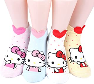 Hello Kitty Series Women's Original Socks 4 pairs(4 color) = 1pack Made in Korea 02