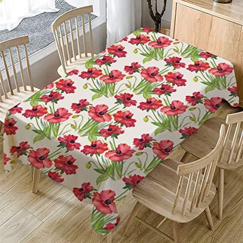 XXDD Mantel de Mesa de Comedor a Prueba de Polvo con Estampado de Flores de Primavera, Mantel Rectangular, Cubierta de Mesa de Centro, decoración del hogar A6, 150x210cm