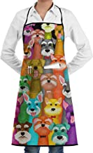 Colorful Oil Cute Schnauzer Dogs Bib Apron Chef Apron - with Pockets for Male and Female,Waterproof, Resistant to Droplets, Durable, Machine Washable, Comfortable, Easy Care Apron