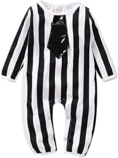 Viworld Baby Boy Halloween Outfits Infant Striped Long Sleeve Jumpsuit Romper Bodysuit with Tie Cosplay Party Costume