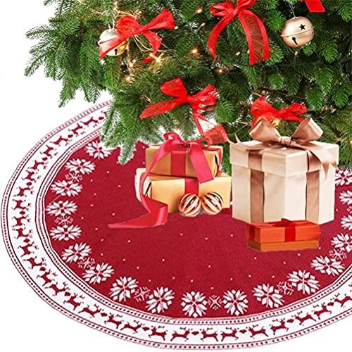 Fencelly Falda de árbol de Navidad de 36/48 pulgadas, alfombra de árbol de Navidad de punto rojo con flor de nieve y alce, decoraciones de Navidad grandes para árbol de Navidad, decoración de fiesta