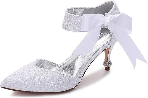 Eleboeb Chaussures De Mariage pour Femme Soie Printemps Side Air Satin Faible Fleurs Faits Main Talons Talon 7.5cm