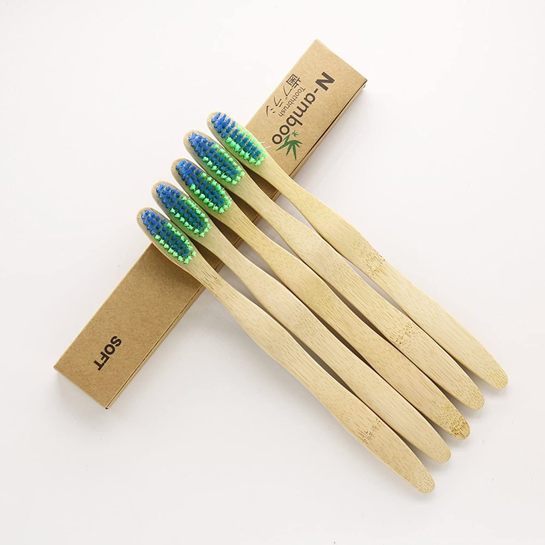 虎逆に行き当たりばったりN-amboo 竹製耐久度高い 歯ブラシ 青と緑色 5本入り セット
