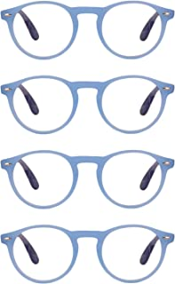 Aiweijia Reading glasses unisex round retro full frame reader glasses 4 Pack