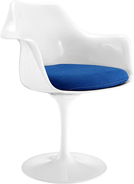 Modway Lippa Mid Century Modern Upholstered Fabric Swivel Kitchen And Dining Room Arm Chair In Blue
