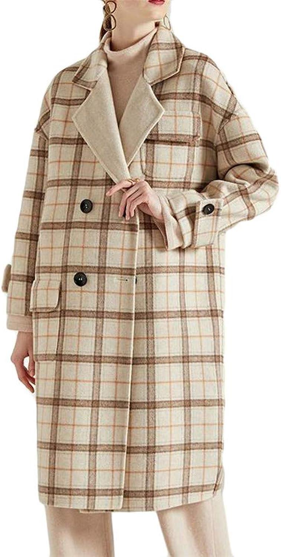 Sweatwater Women's Plaid Lapel Neck Double Breasted Pocket Vogue Overcoat Wool Blend Coat Jacket